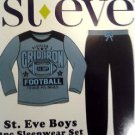 St.Eve Boy's 2 pc L/S Fleece Football Pajama Set~BLUE~Sz-M-10/12~NEW