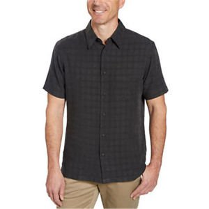 Age of Wisdom Men's Button down Short Sleeve Shirt~Sz-2 XL~Black Plaid~NWT