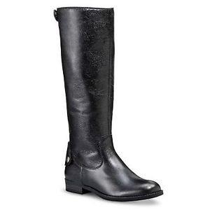 MERONA Ladies ERIN Tall Leather Riding Boots~Black~Sz-6~NEW