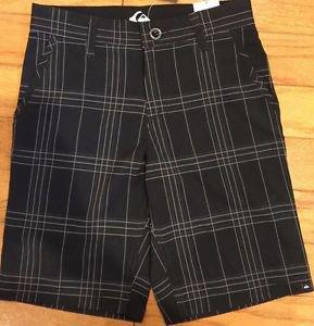 Quiksilver Boy's Boardshorts Amphibious Casual Plaid Shorts~Black~Sz-12~NEW