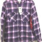 Boston Traders Women's Hooded Fleece Flannel Plaid Shirt Jacket~Purple~Sz-M~NWT