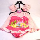 Disney Girl's Toddler Swimsuit w/Cover-up Princesses Set~PINK~Sz- 3t~NEW
