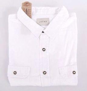 JACHS Men's Long Sleeve Button Front Shirt~White~Sizes-M, L, XL~NWT