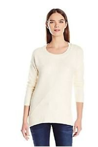 Calvin Klein Women Crew Neck High Low Pullover Sweater IVORY Sz-2XL