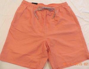 Kirkland Men's Swim Shorts Trunks~Orange & White Stripes~Sizes~M & L~NWT