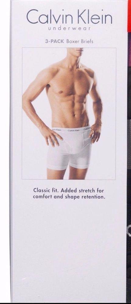 Calvin Klein Men's Boxer Briefs 3 Pack Underwear~White~Sz-L 36/38~NIP