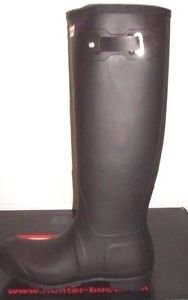 Hunter Unisex Tall Rain Weatherproof Rubber Boots~Black Matte~Size-10~NIB