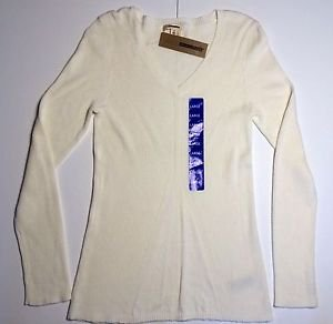 DKNY Jeans Women's Classic V-Neck Ribbed Sweater~Ivory~Sz-2XL~ NWT