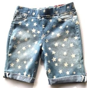 Tractor Girl's Pull on Stretch Denim Bermuda Shorts~Sz-12~Faded Blue Stars~NEW
