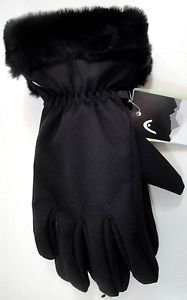 Head Ladies Softshell Windproof Gloves~Faux Fur Cuff~Black~Sizes-S, M & L~NWT