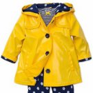 Little Me Girl's Hooded Raincoat Jacket Shirt & Pant 3 pc Set~Yellow~Sz-4t~NWT