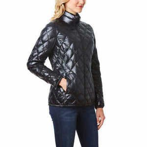 32 Degrees Heat Weatherproof Women Packable Down Quilted Jacket Coat~BLK~XS~NWT