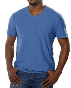 Calvin Klein Men's Textured V-Neck Short Sleeve T-shirt~BLUE~Sz-L~ret-$45~NWT