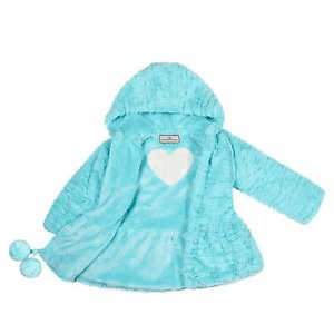 American Widgeon Girls Hooded Faux Fur Heart Jacket Coat~AQUA~Sz-3t, 4t, 5~NWT
