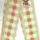 St.Eve Girls Polar Fleece Pajama Lounge Pants~Green/PINK~Sz-7/8~Monkey~NEW