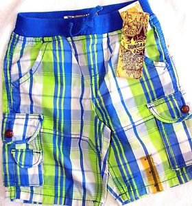 Lee Dungarees Boy's Cargo Shorts~Adjustable Waist~Blue Plaid~Sz-4t & 5t~NWT