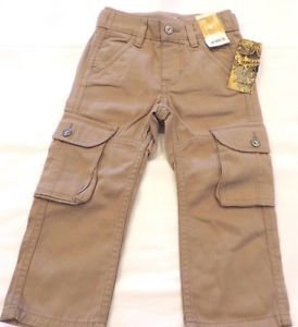 LEE Boys Toddler Cargo Dungarees Jean Pants~Knit Waistband~Tan~Sz-18mo/2t/4t~NWT