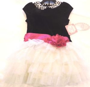 Jona Michelle Girls Velvet Boutique Dress~Black/White/Pink~Sz-2t~NWT