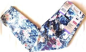 Levi's Girl's Stretchy Cropped Denim Legging Adjustable Pants~Flowers~Sz-8~NWT