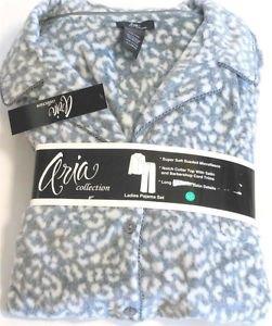 Aria Womens Pajama Set Pant/Shirt~2-Piece Sueded Microfeece~Gray Animal~Sz-S~NWT
