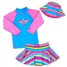 UV SKINZ Girl's 3 pc SwimSuit Set UPF 50+Swimwear~Fish w/Stripes~Sz-7~NWT