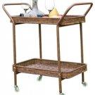 Jeco Wicker Resin Patio Outdoor All Weather Serving Cart in Honey~NIB