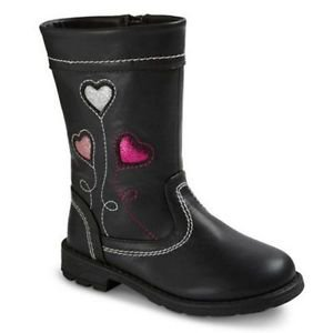 Laura Ashley Girl's Toddler Karissa Boots~BLACK~Glitter Hearts~Sz-6~NEW