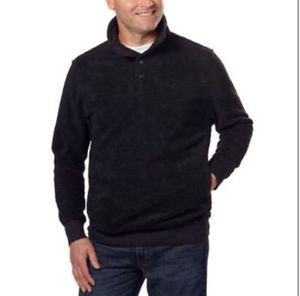 JACHS Mens Sherpa Fleece Pullover Jacket~Black~Sz-M~NWT