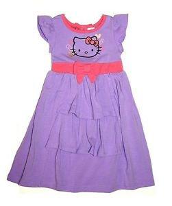 Hello Kitty Girl's Sanrio S/S Ruffle Knee Length Dress~Purple/Pink~Sz-6x~NWT