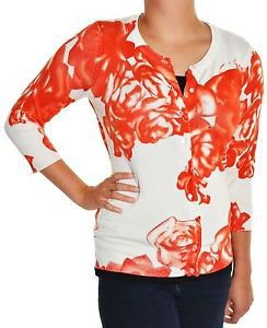 Cyrus Women's Button down 3/4 Sleeve Cardigan Sweater~Orange Rose~Sizes-S, M~NWT