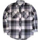 Weatherproof Vintage Boy's Plaid Flannel Shirt~Long Sleeve~Gray/Blk~Sz-Large~NWT