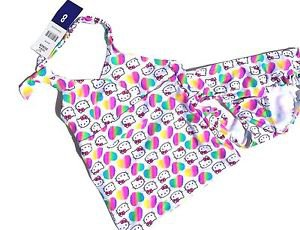 Hello Kitty Sanrio Girls 2 piece Tankini Swimsuit~Rainbow Hearts~Size-10~NWT