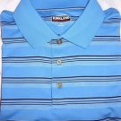 Kirkland Signature Men's Polo Golf Wicking Shirt~Sz-L~BLUE Stripes~NWT