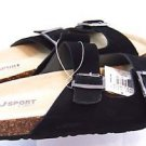 JSport by Jambu Women's Libra Suede Slip on Sandals~Black~Sz-8~NEW