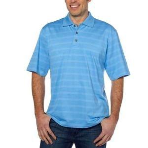 Pebble Beach Men's Polo Golf Striped Shirt~Sz-XL~UPF Protection~Blue~NWT
