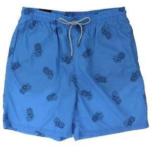 Kirkland Men's Swim Suit Shorts Trunks~Blue Pineapples~Size~2XL~NWT