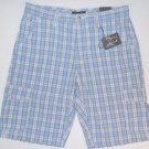 AGE OF WISDOM Men's Cargo Utility Casual Shorts~Blue Plaid~Sz-34~NWT