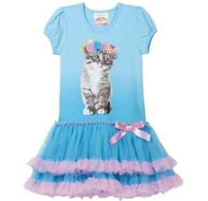 Beautees Girl's Boutique TuTu Dress~BLUE Kitty Cat~Sizes-3t & 4t ~NWT