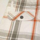 Micros~Boy's~Shorts~North Hollywood~Plaid~Gray/Orange/White~  Size-16~NWT