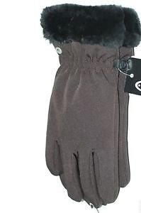 Head Ladies Softshell Windproof Gloves~Faux Fur Cuff~Brown~Sizes- M & L~NWT