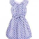BLUSH by Us Angels Girl's White/Blue Polka Dot Bubble Hem Dress~Sz-12~NWT