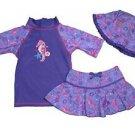 UV SKINZ Girl's 3 pc SwimSuit Set UPF 50+Swimwear~Purple SeaHorse~Sz-7~NWT