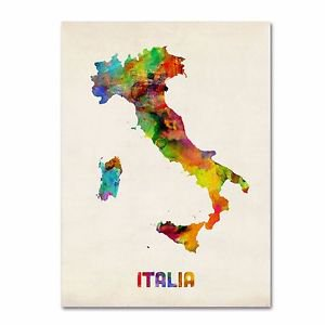 "Trademark Fine Art ITALY Watercolor Map Canvas by Michael Tompsett~35x47x2""~NEW"