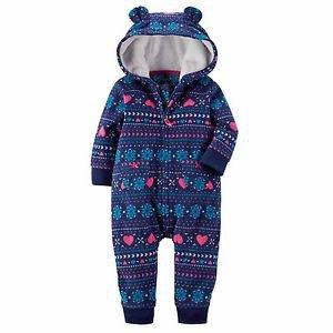Carter's Baby Girls 1 piece Hooded Fleece Jumpsuit~Purple Hearts~Sz-6 mo~NWT