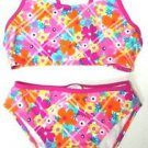 Speedo Girls 2 Piece Swim Suit~Bikini~Pink Flowers~ Sz-14~with UPF~ NWT