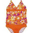 Speedo Girls 2 Pc Swim Suit~Tankini~Orange/Pink Flowers & Polka Dots~Sz-12~ NWT