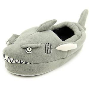 Stride Rite Toddler Boy's Grey Shark Slippers~Sz-S (7/8) Glow in dark EYES~NWT