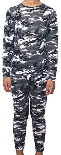 Weatherproof Kids Boy's Base Layer L/S Top/Legging Set~Gray Camo~Sz-M, L, XL~NWT