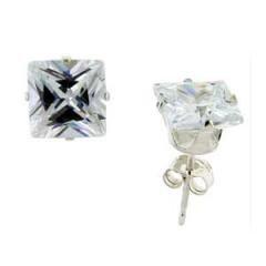 7 Mm Square 4.00 Carat Princess Cut Cz Sterling Silver Stud Earrings