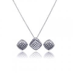 Cubic Zirconia CZ .925 Sterling Silver Necklace Pendant Earrings Jewelry Set